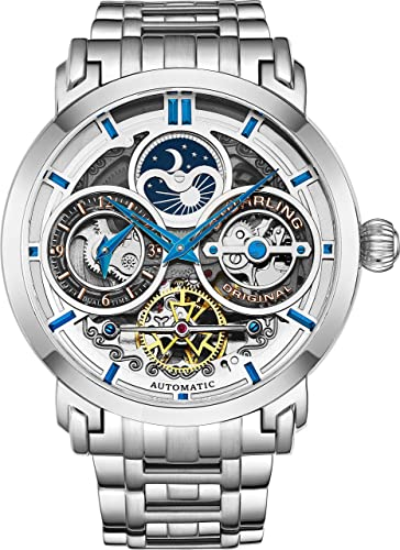 Amazon.com: Stührling Original Mens Watch Stainless Steel Automatic, Silver  Skeleton Dial, Dual Time, AM/PM Sun Moon, Stainless Steel Bracelet, 371B  Watches for Men Series: Watches