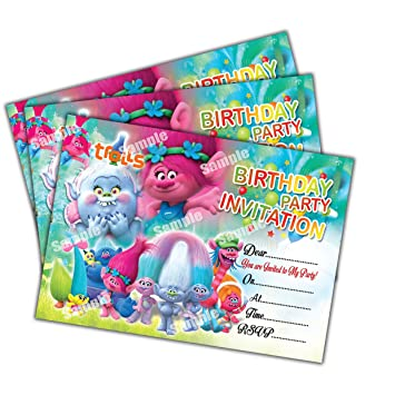 20 x trolls kids birthday party invitations invites cards quality 20 x trolls kids birthday party invitations invites cards quality girls boys stopboris Gallery