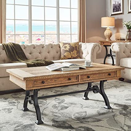 Inspire Q Lloyd Wood And Metal Trestle Base Accent Tables By Artisan Coffee  Table