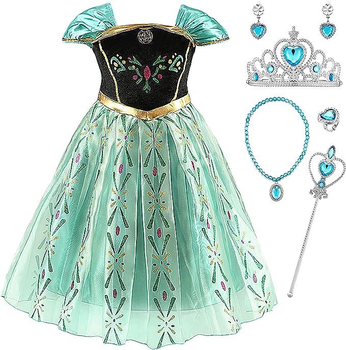 YOSICIL Disfraz Princesa Frozen Anna Verde Niña Infantil niña ...