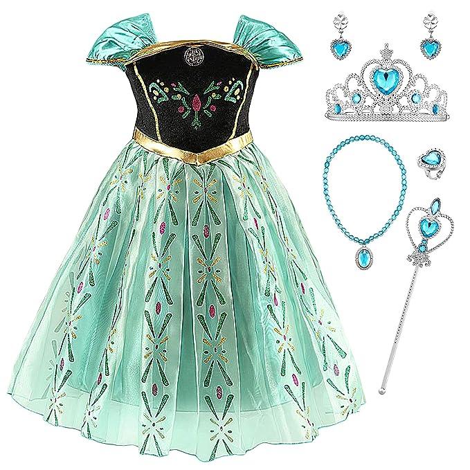 YOSICIL Disfraz Princesa Frozen Anna Verde Niña Infantil ...