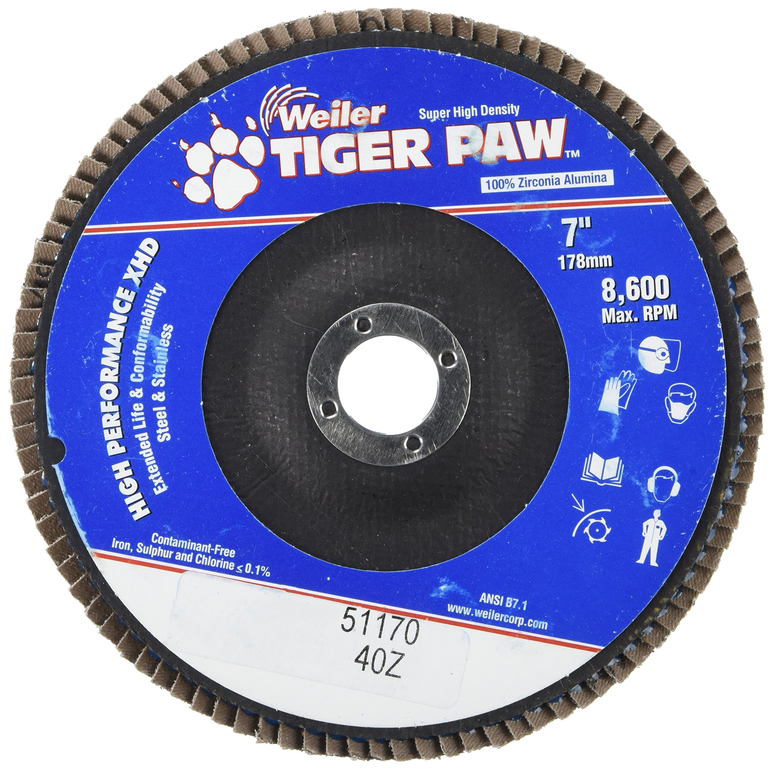 Weiler 51170 Tiger Paw XHD Super High Density Abrasive Flap Disc, Type 27 Flat Style, Phenolic Backing, Zirconia Alumina, 7'' Diameter, 7/8'' Arbor, 40 Grit, 8600 RPM (Pack of 10)