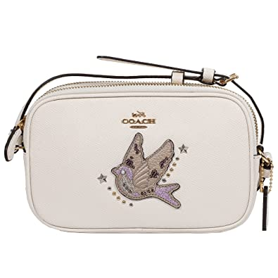 8ff697b44b09d COACH Crossbody Bag Small Leather Bag (Gold White): Handbags: Amazon.com