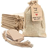 """25x Burlap Bags with Drawstring by Kona Kift! 5x7.5"""" Small Party Favor Gift Bags + Bonus Gift Tags & String! Brown Bags…"""