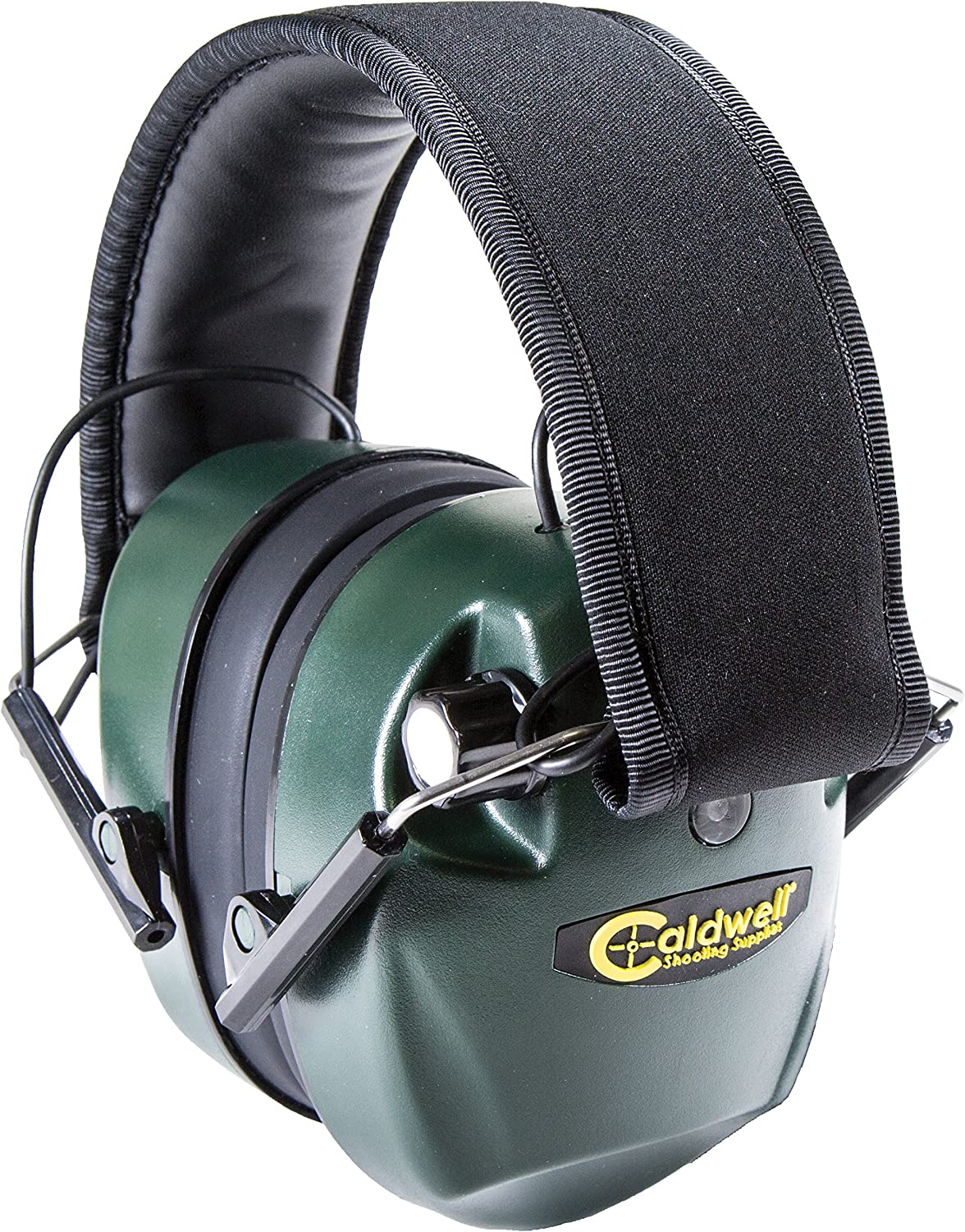 Caldwell E-Max Electronic 25 NRR Hearing Protection with Sound Amplification and Adjustable Earmuffs for Shooting, Hunting and Range, Green