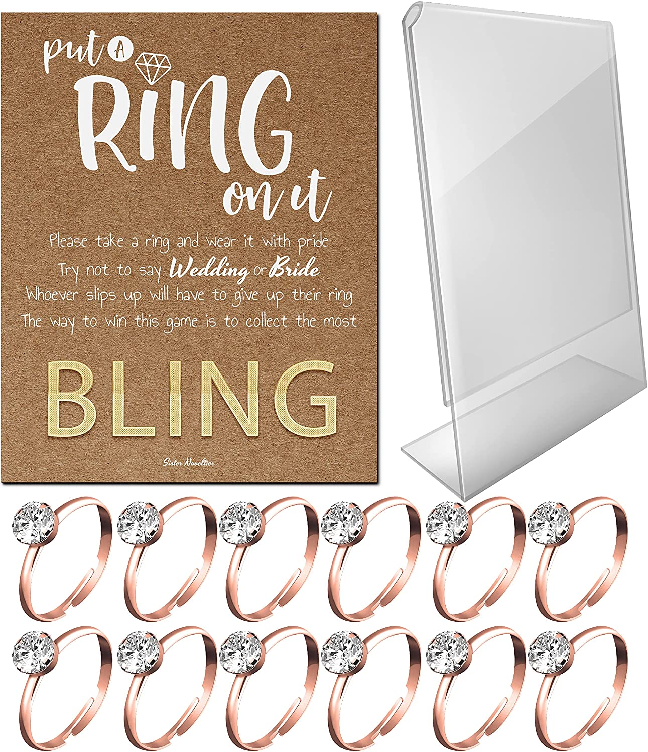 Bridal Shower Games - Put a Ring on It Bridal Shower Game with Fake Rings, Bridal Shower Decor, Bridal Shower Decorations, Bridal Shower Games for Guests (Craft - Rose Gold 12 Count)