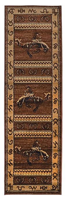 Elegant Rugs 4 Less Collection Cowboy Horse Western Cabin Style Lodge Runner Area  Rug Design R4L 370
