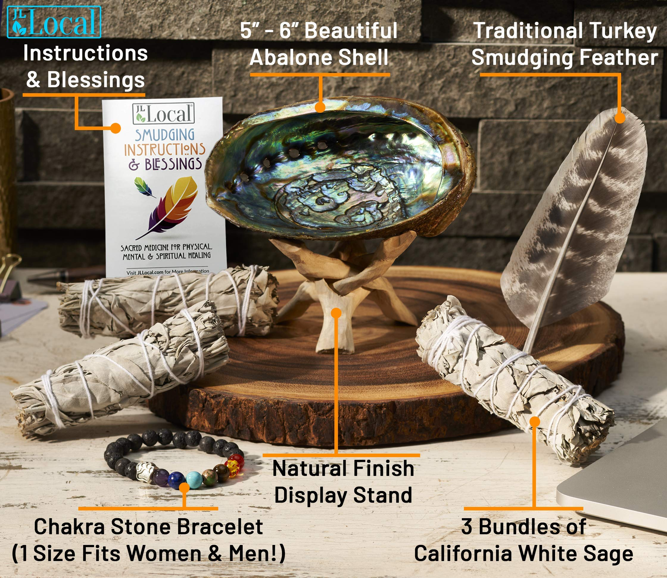 JL Local 3 White Sage Smudge Gift Kit - Abalone Shell, Feather, Stand, Instructions & More - Smudging, Cleansing, Healing & Stress Relief by JL Local (Image #2)