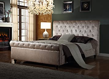 Crushed Velvet Fabric Bed Frame Selina Cream 4ft6inch, Double Size