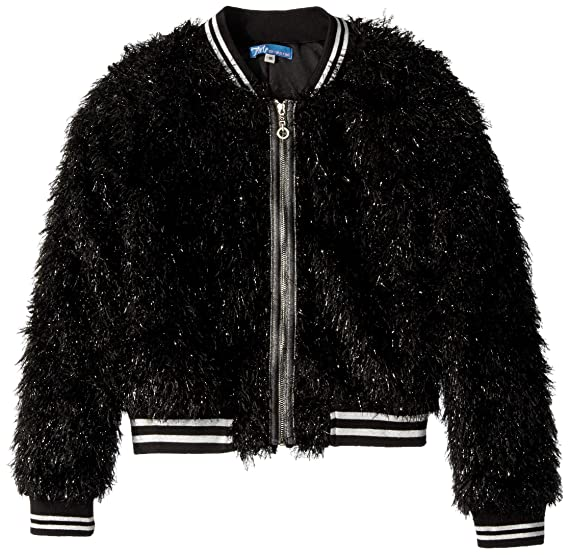 Black Fur 8 Truly Me Girls Big Outerwear Bomber Jackets