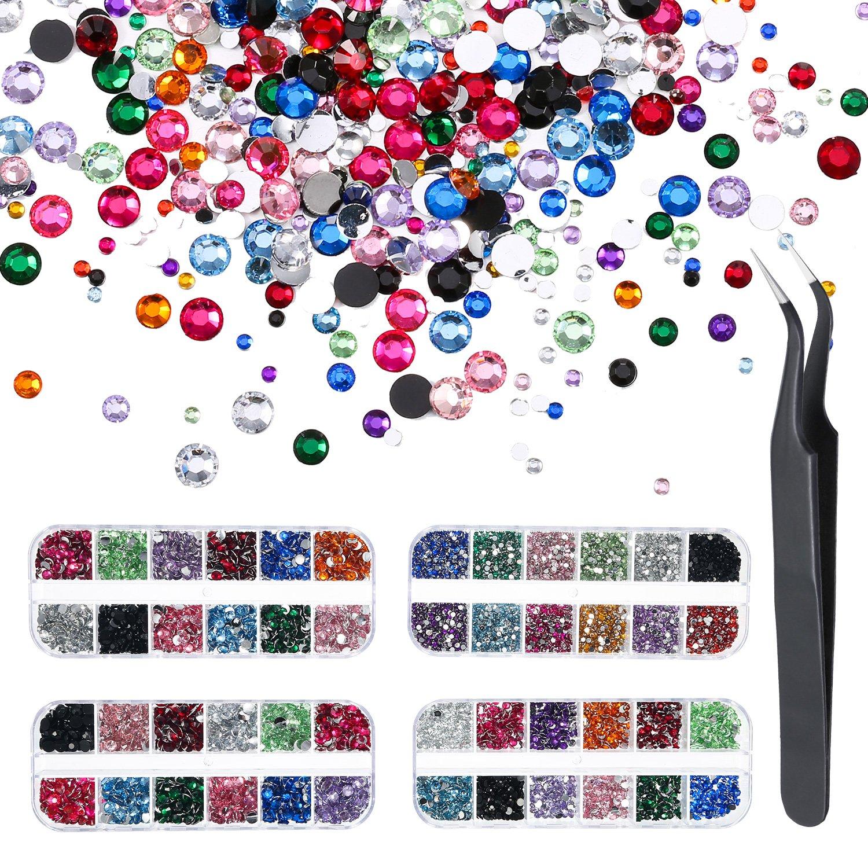 Pangda 9000 Pieces 4 Size 12 Colors Nail Art Rhinestones Set with 4 Boxes Nail Gems and Pick up Tweezer by Pangda