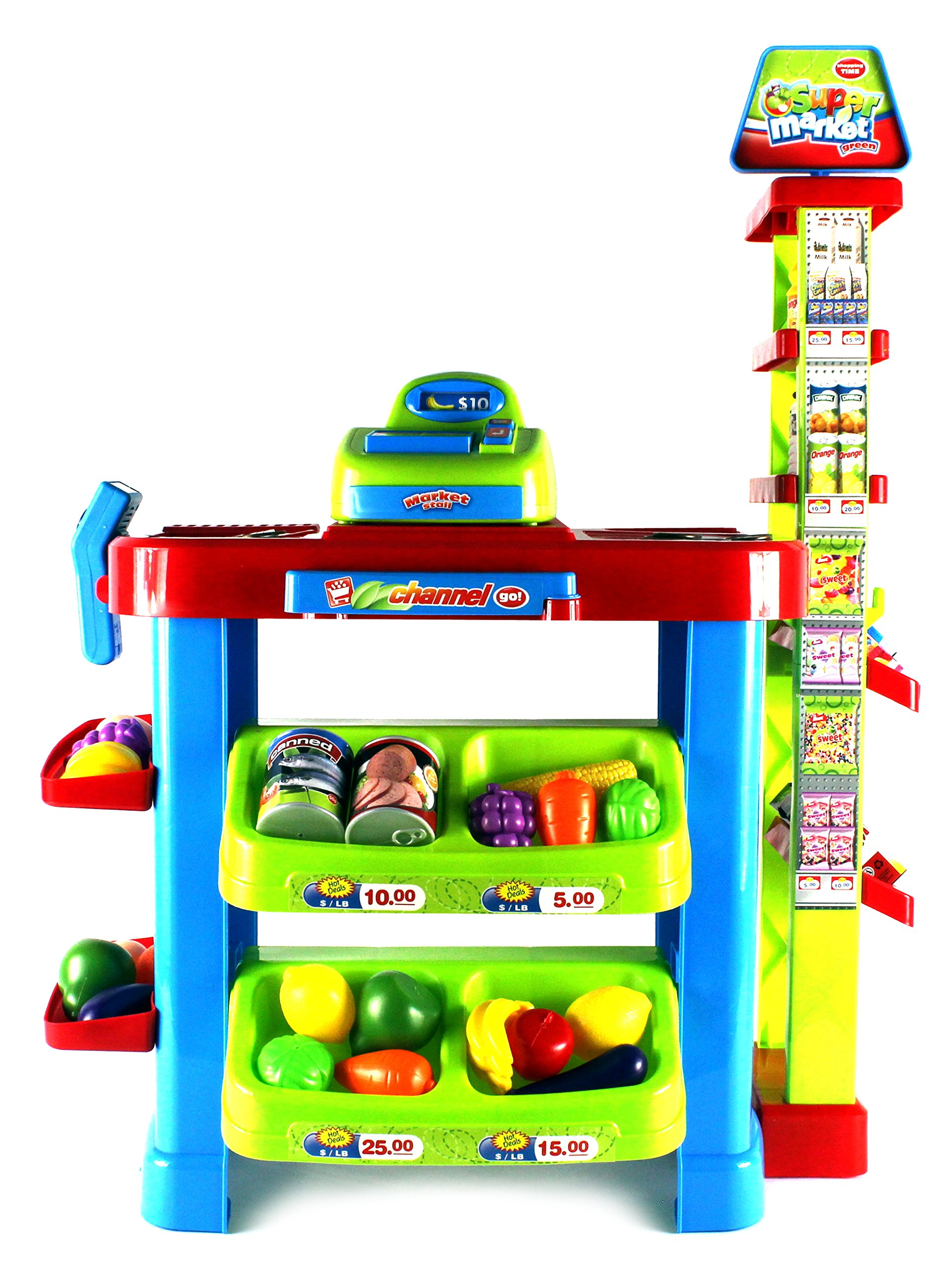 VT Fun Super Market Pretend Play Toy Market Play Set w/ Toy Cash Register, Working Scanner, Shopping Cart, Pretend Food and Money by Velocity Toys