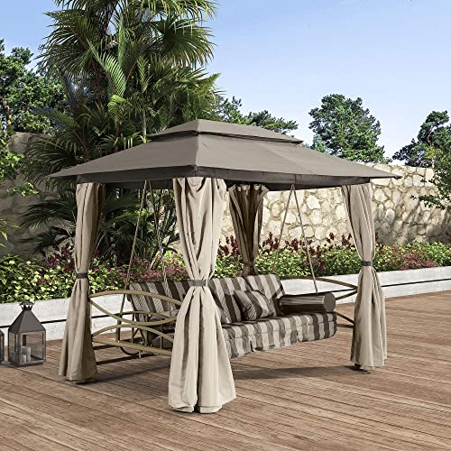 PURPLE LEAF 3 Person Outdoor Patio Porch Swing Gazebo