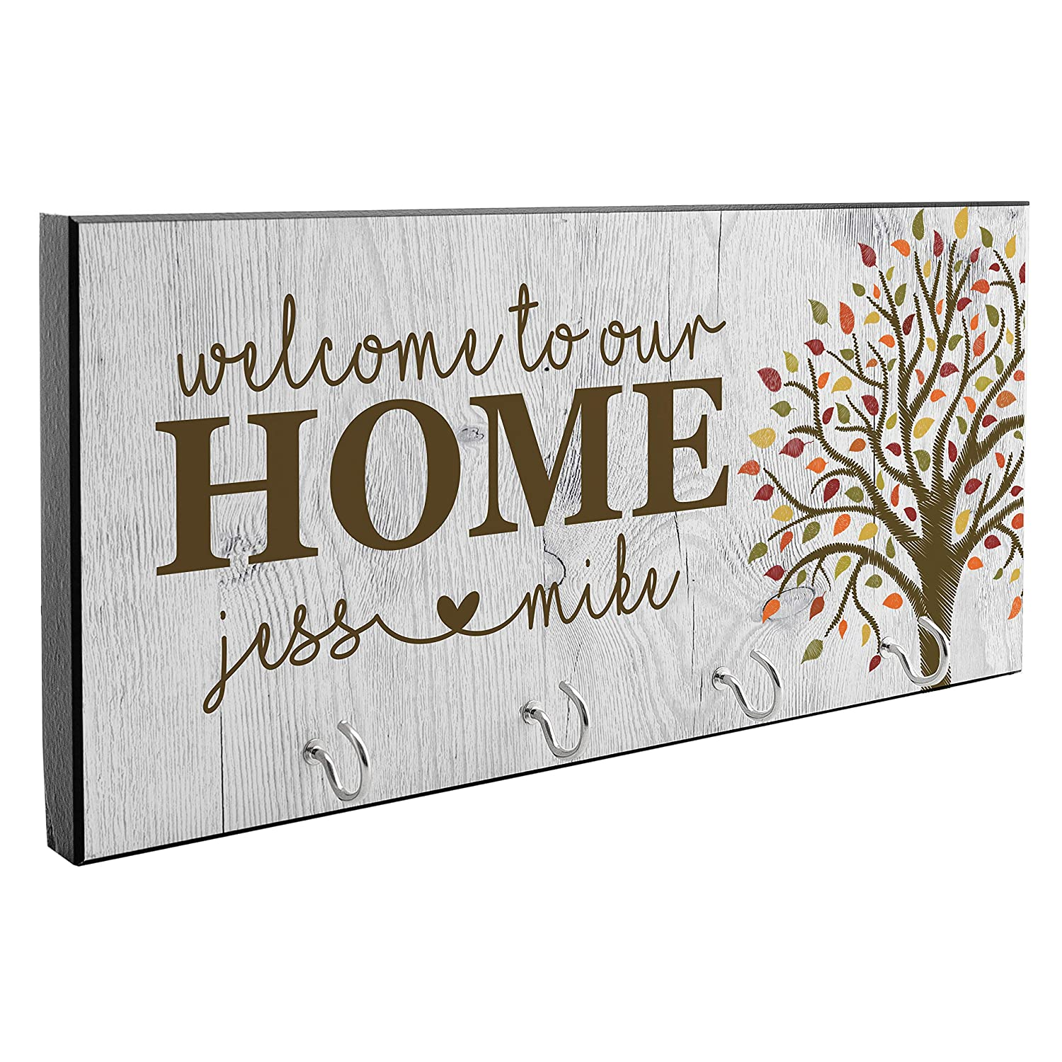 Customized Key Hanger Housewarming Gifts for Newlyweds Wedding Gift for Couples State Design with Leaves D9 Personalized Key Holder for Wall