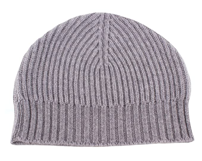 Love Cashmere Ladies Ribbed 100% Cashmere Beanie Hat - Light Grey ... 5937ef90a63