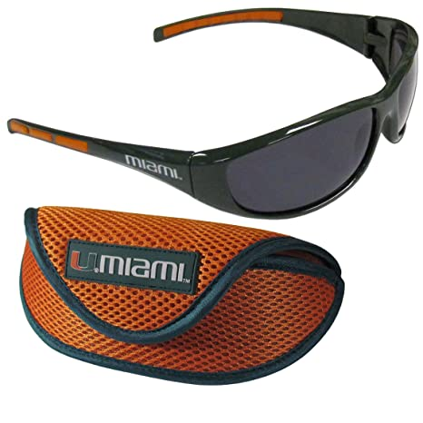 NCAA Miami Hurricanes Sports Sunglasses Case, Orange