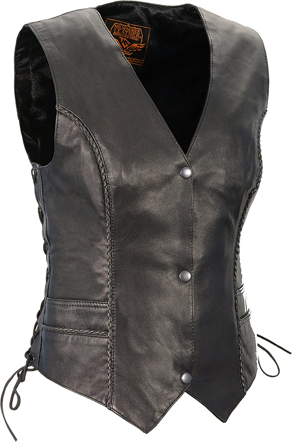 Black, XX-Large S Front Snaps, Braided O Milwaukee Leather Womens Braided Vest