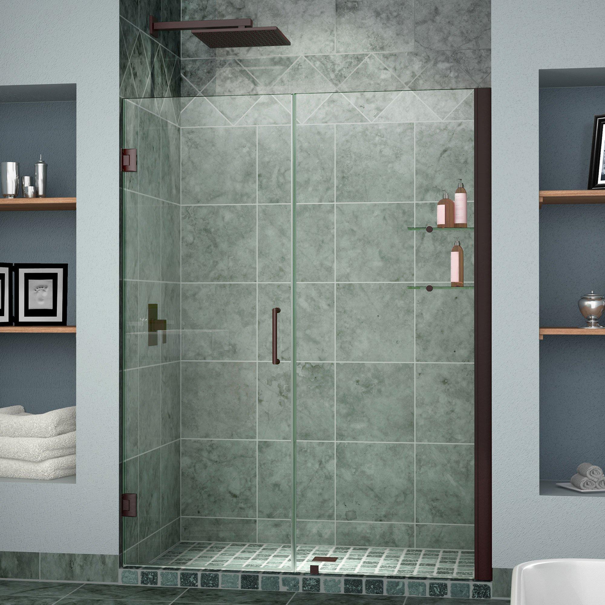 DreamLine Unidoor 42-43 in. Width, Frameless Hinged Shower Door, 3/8'' Glass, Oil Rubbed Bronze Finish by DreamLine