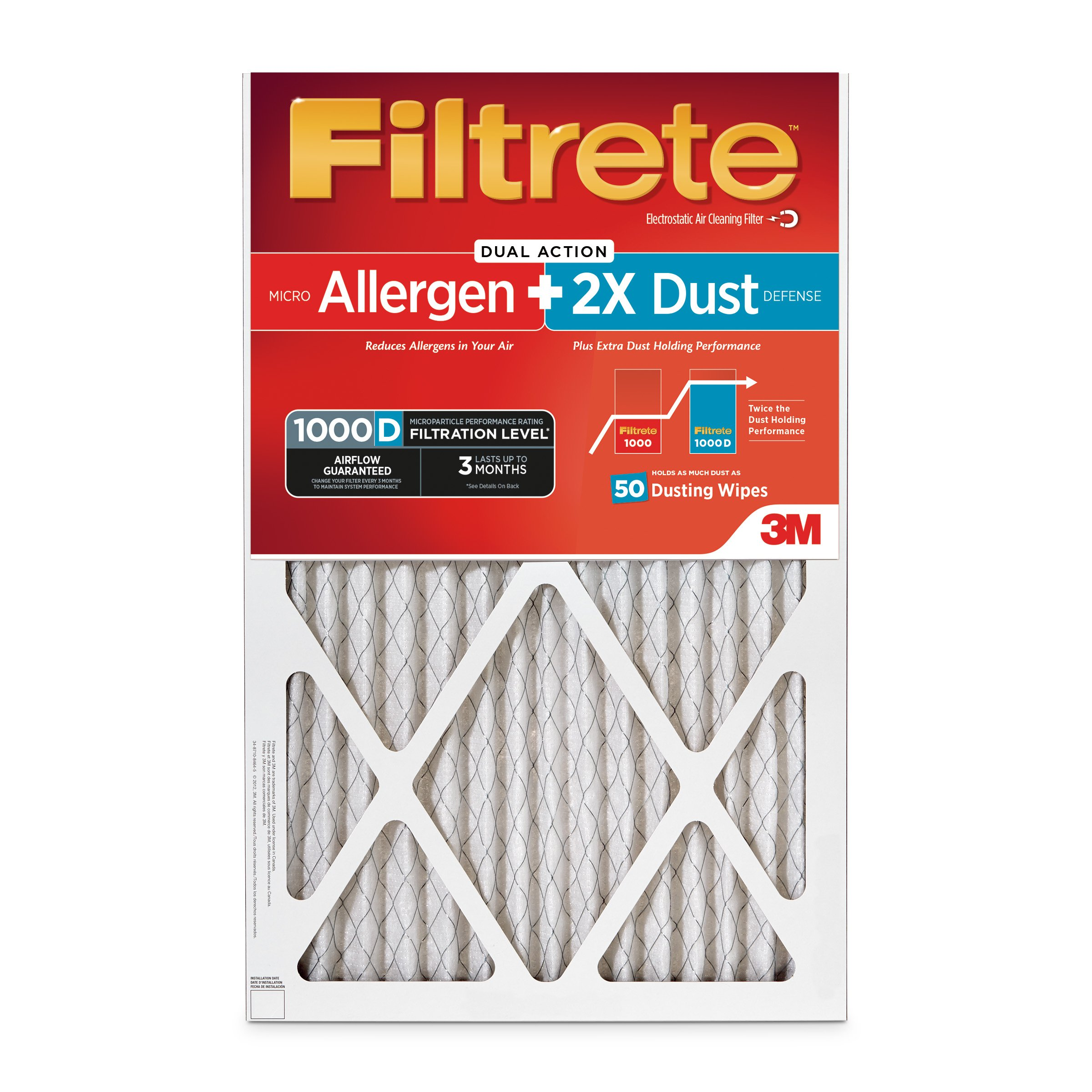 Filtrete MPR 1000D 20 x 25 x 1 Micro Allergen PLUS DUST HVAC Air Filter, Captures Small Particles, Uncompromised Airflow, 2-Pack