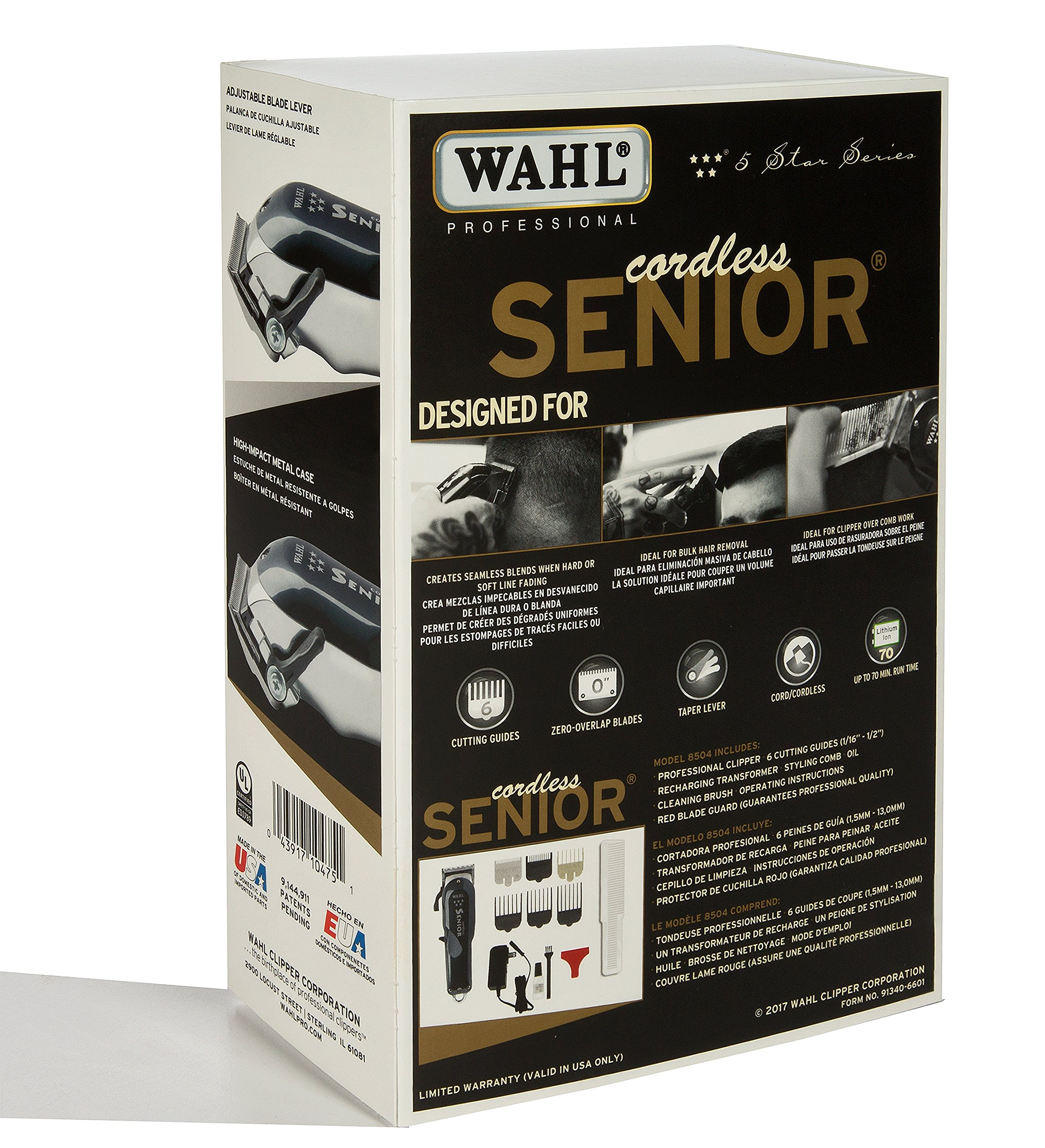 Wahl Professional 5-Star Series Cordless Senior Clipper #8504 – Great for Professional Stylists and Barbers – 70 Minute Run Time
