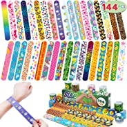 JOYIN 144 Pcs Slap Bracelets Wristbands with Emoji, Animals, Friendship, Heart Print Design, for Kids Valentine's Day Party