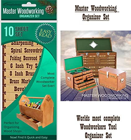 """Tool Box Labels for the craftsman """"Master Woodworker Organizer Set"""" - worlds most complete set of custom cabinet labels for wood working tools - for ..."""