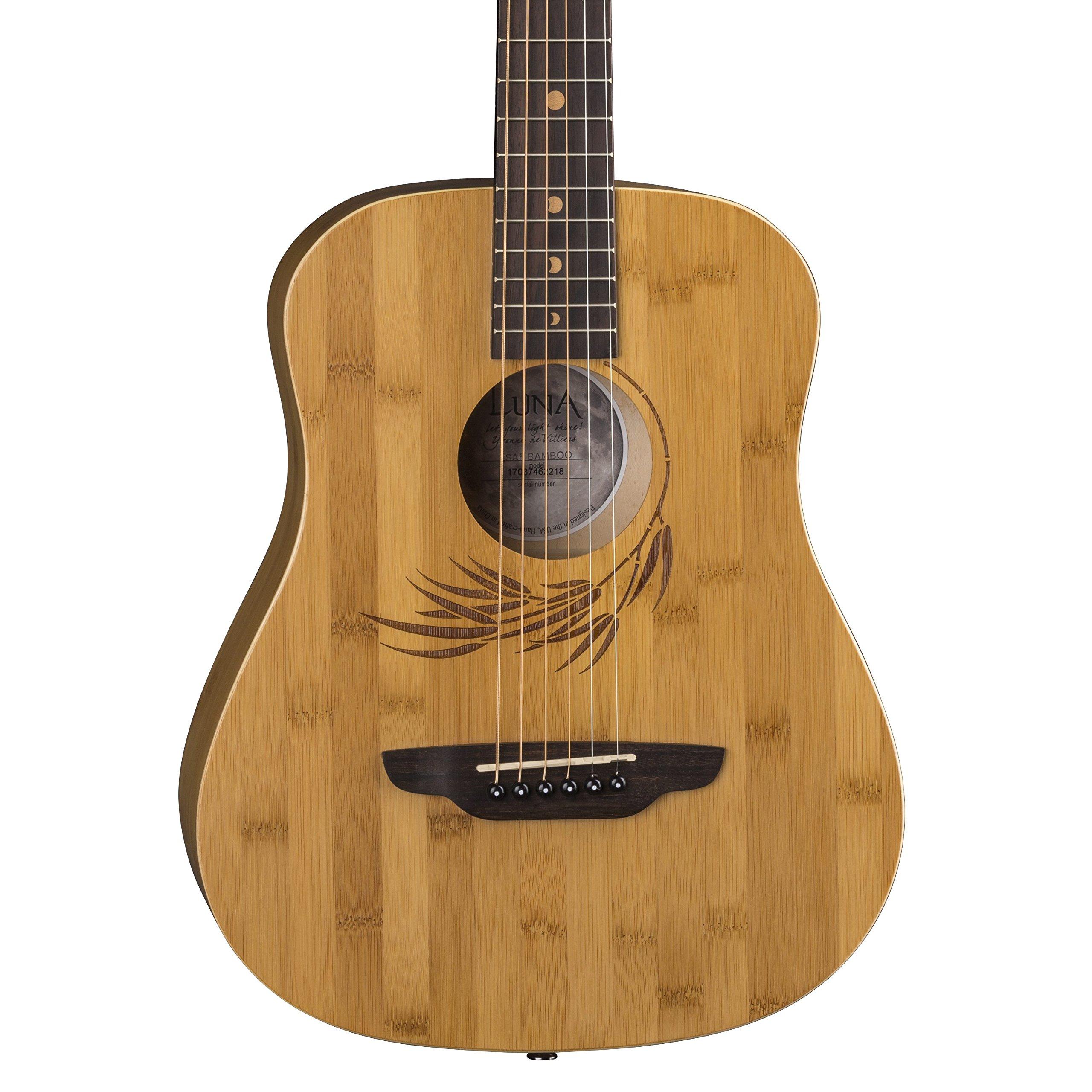 Luna Safari Bamboo Acoustic Travel Guitar with Gig Bag, Satin Natural by Luna Guitars