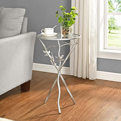 FirsTime Co. Silver Bird and Branches Tripod Side Table