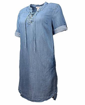 fd46d5652f1 Philosophy Womens Tencel Lace Up Denim Dress at Amazon Women s ...