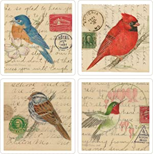 CoasterStone Absorbent Coasters, Birds on Letters, 4-1/4-Inch, Set of 4