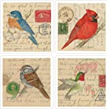 CoasterStone AS1355 Absorbent Coasters, Birds on Letters, 4-1/4-Inch, Set of 4