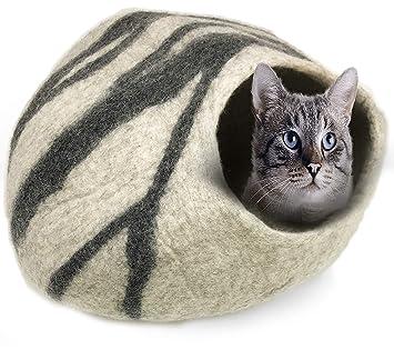 Amazon.com: 100% lana natural grande cueva de gato – hecho a ...