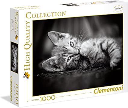 Clementoni-39422 Puzzle 1000 Piezas Kitty, Color Negro, Blanco ...