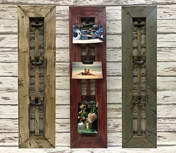 PHOTO HOLDER With CLIPS Rustic Window Pane Picture Frame Reclaimed Wood Distressed River Rock