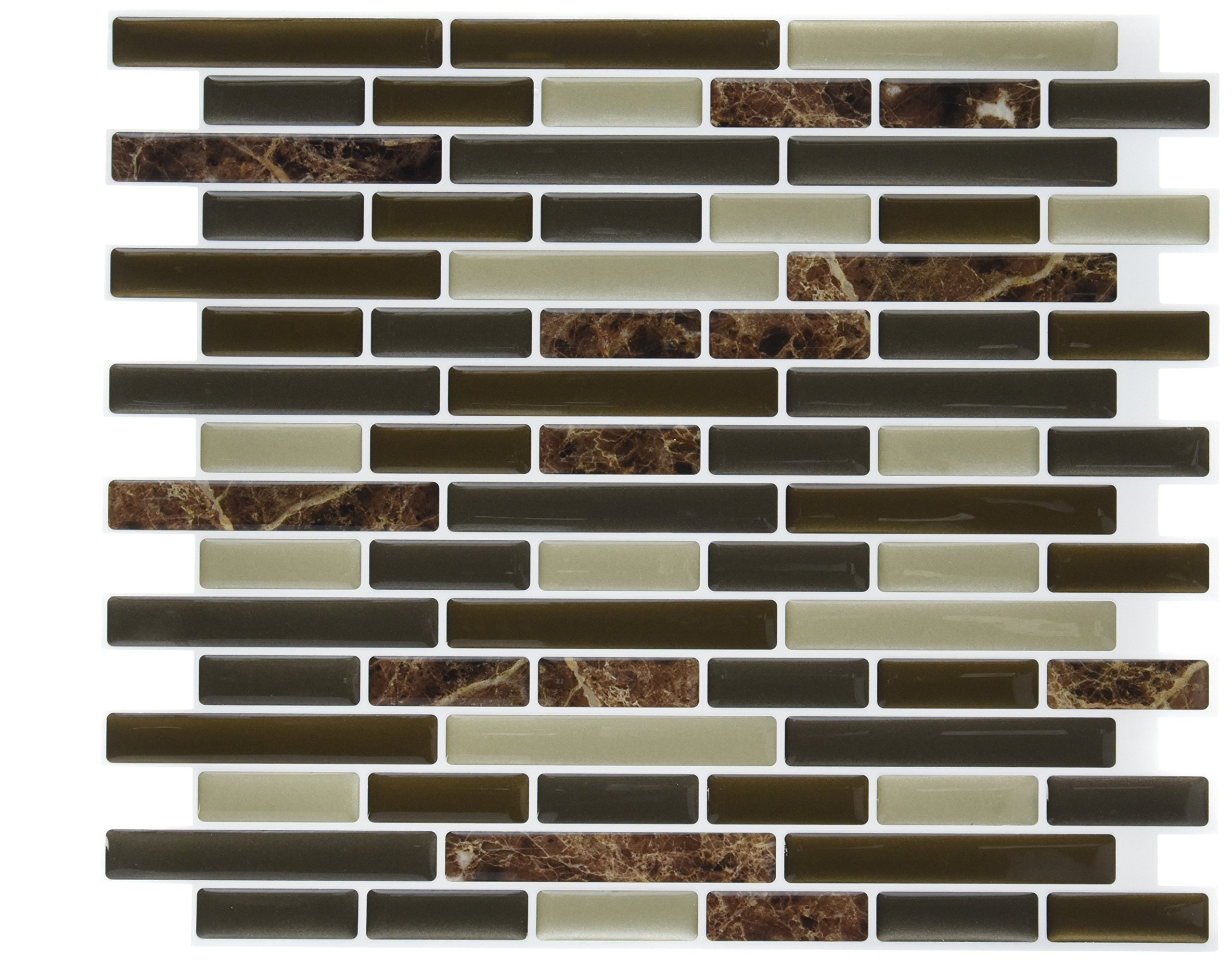 Peel & Impress 11'' X 9.25'' Adhesive Vinyl Wall Tiles Bulk 40 RNUM-Pack -Mixed Brown Oblong by Peel & Impress