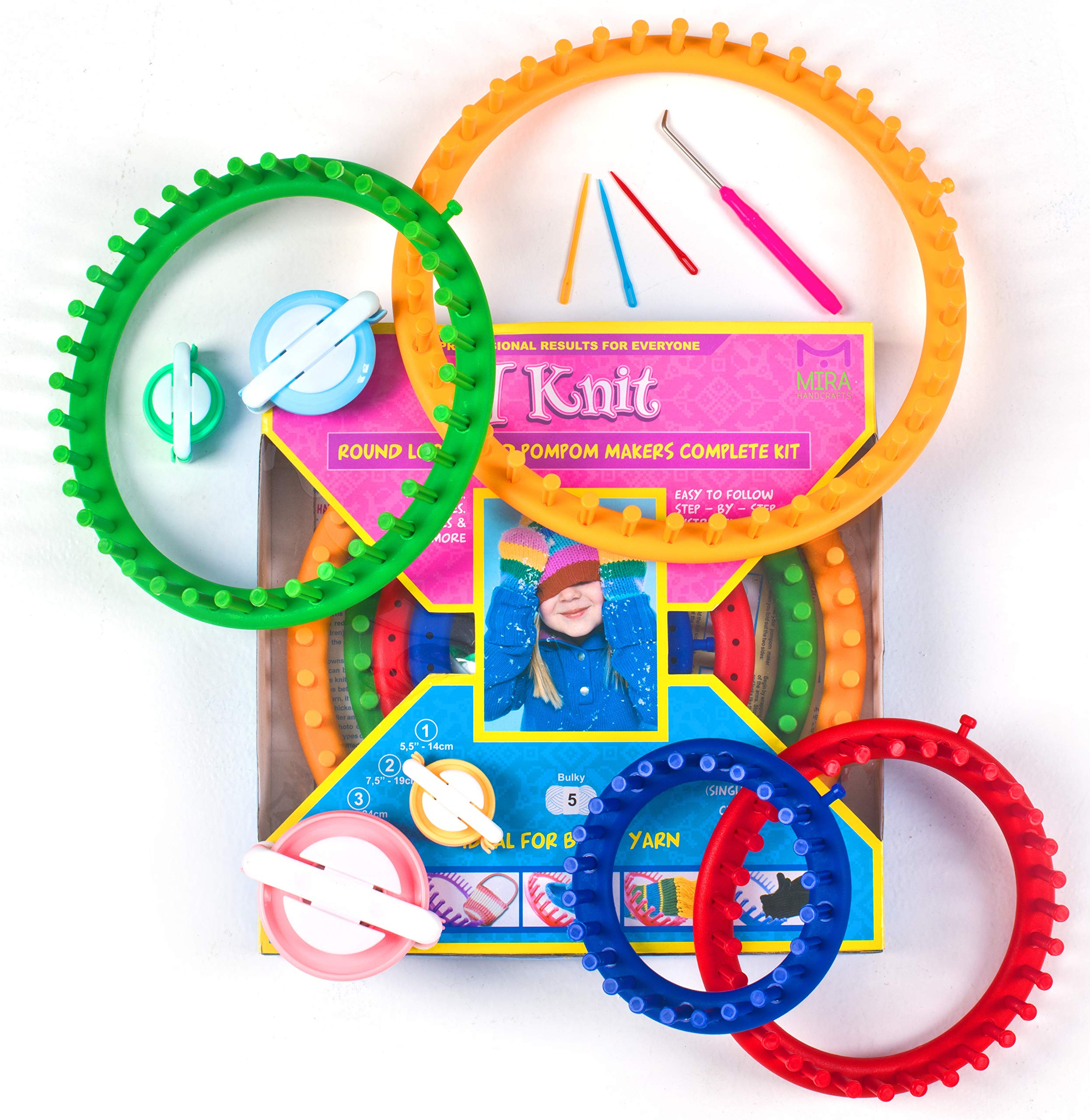 Mira Handcrafts Complete Round Knitting Loom Kit | 4 Knitting Circle Looms, 4 Pompom Makers, 3 Plastic Needles, 1 Soft Grip Pick | Perfect Crochet Craft Kit for Beginners by Mira HandCrafts