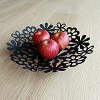 White or Black metallic fruit bowl in floral pattern (Black)