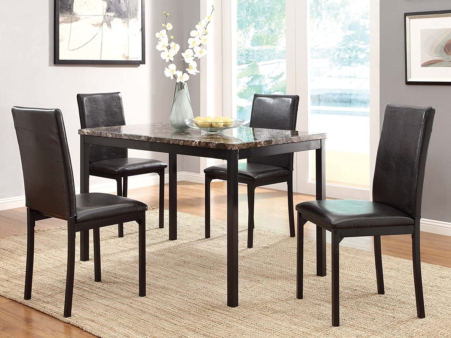 Amazon.com: Homelegance Tempe 5-Piece Metal Dinette Set, Laminated ...