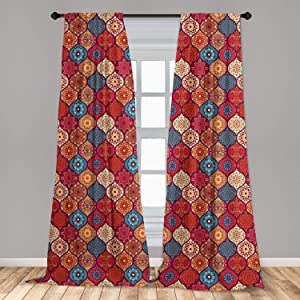 """Ambesonne Moroccan Curtains, Oriental Wavy Curvy Pattern with Spring Nature Inspired Retro Style Art Motifs, Window Treatments 2 Panel Set for Living Room Bedroom Decor, 56"""" x 95"""", Ruby Orange"""