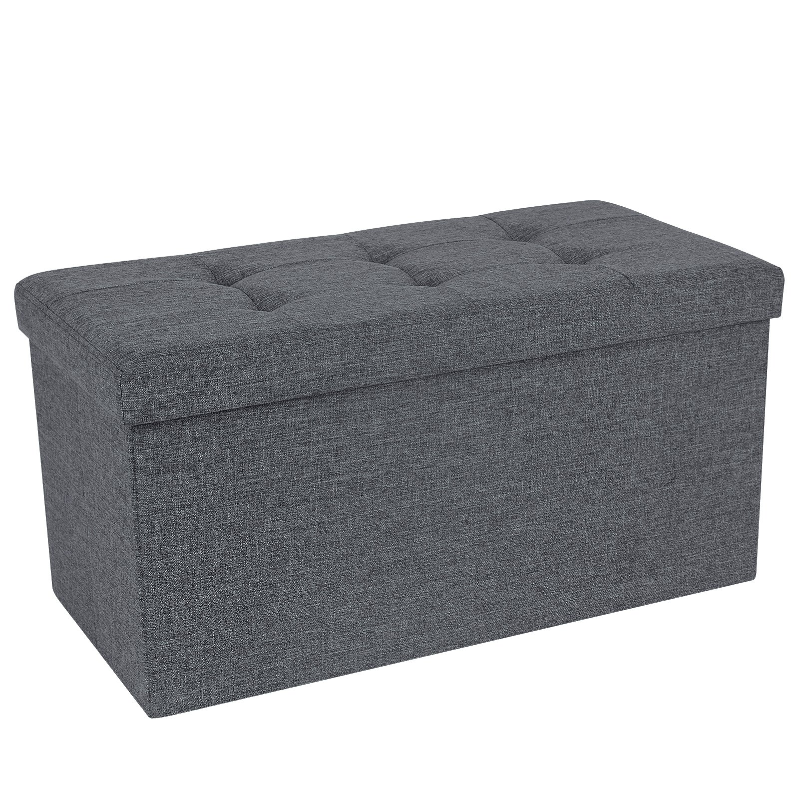 SONGMICS Storage Ottoman Bench, Chest with Lid, Foldable Seat, Bedroom, Hallway, Space-saving, 80L Capacity, Hold up to 660 lb, Padded, Dark Grey ULSF47K by SONGMICS