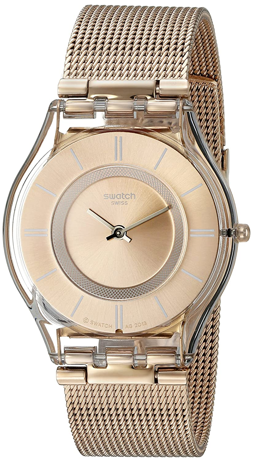 a277749c09 Amazon.com: Swatch Women's SFP115M Skin Rose Gold-Tone Watch with Mesh  Band: Swatch: Watches