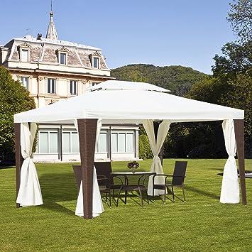 Pabellón Outsunny® de poliratán, 3 x 4 m, cenador de jardín, carpa de fiesta, incluye los laterales: Amazon.es: Jardín