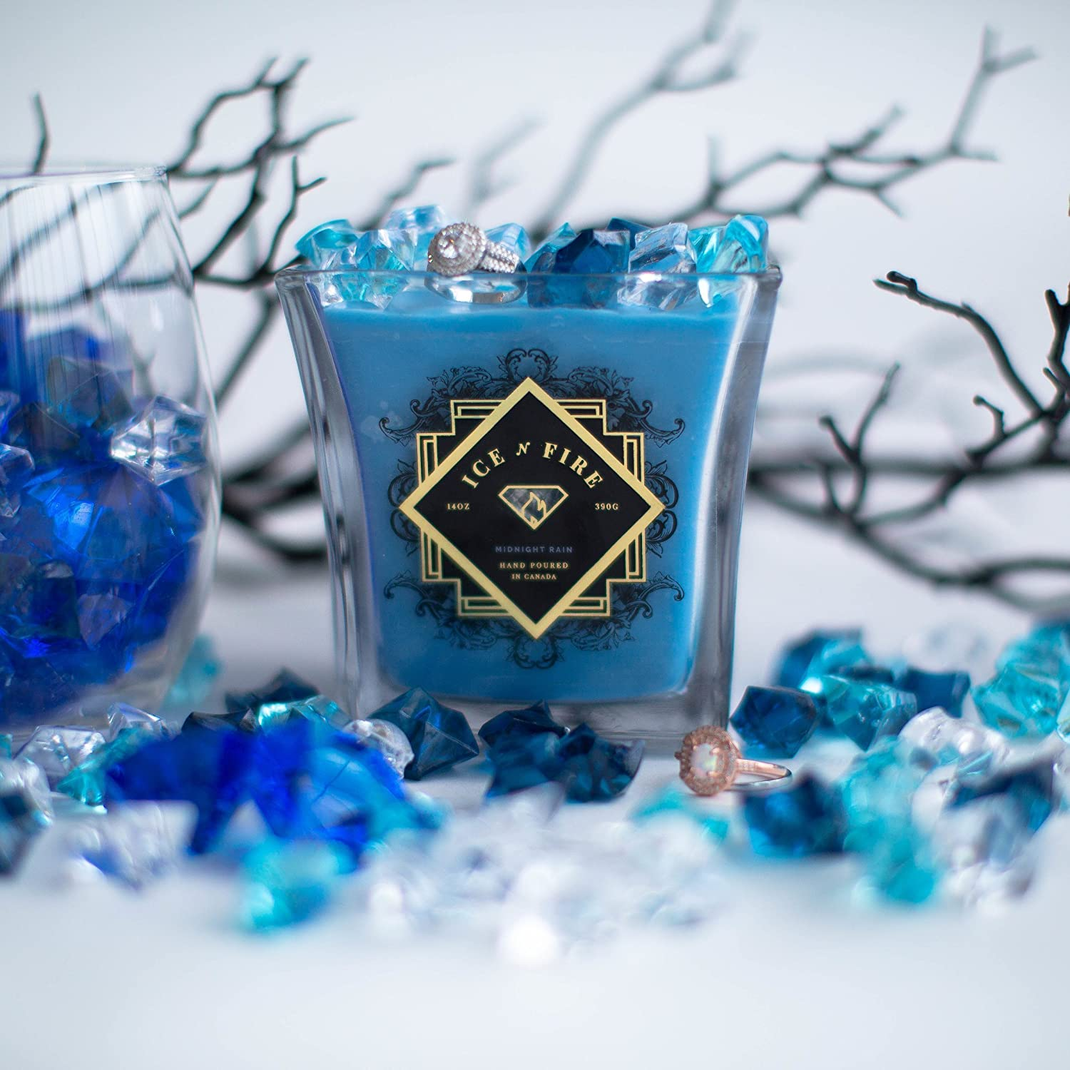 Ice N Fire Midnight Rain Ring Candle (Hidden Ring Valued up to $5, 000)