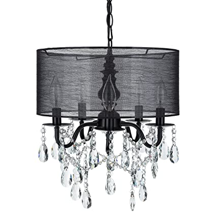 2854c055278 Luna Black 5 Light Crystal Chandelier with Drum Shade, Glass Beaded Swag  Plug-In Pendant Wrought Iron Cylinder Shaded Ceiling Lighting Fixture Lamp  ...