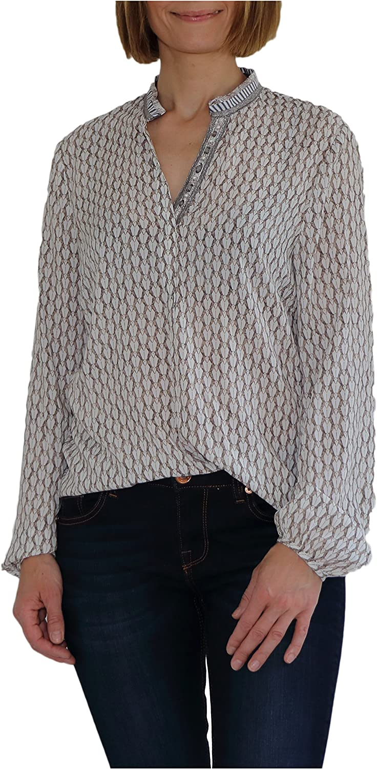 Just White Collarless Smock Style Printed Top 18 Beige: Amazon.es: Ropa y accesorios