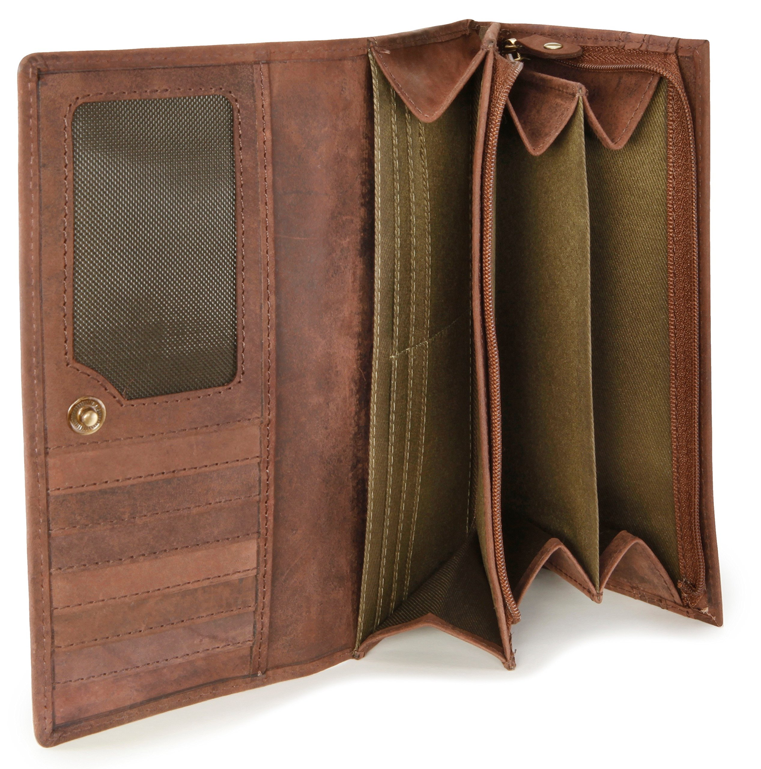 LEABAGS Charlotte genuine buffalo leather women's wallet in vintage style - Nutmeg by LEABAGS (Image #7)