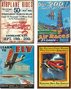 Vintage Airplane Tin Sign Bundle - Airplane Rides Secrist Flying Circus, St. Louis Air Races, Learn to Fly and Kahonee Air Service