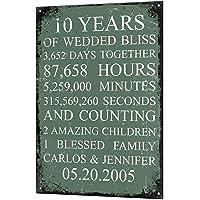 Wedding Anniversary Gift Custom Vintage Metal & Matching Fridge Magnet Keepsake Sign Retro Tin Plaque 10 Years 20 Years 25 Years 5 Year Personalised