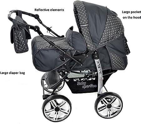 Kamil - Sistema de viaje 3 en 1, silla de paseo, carrito con capazo y silla de coche, RUEDAS ESTÁTICAS y accesorios (Sistema de viaje 3 en 1, gris, lunares)