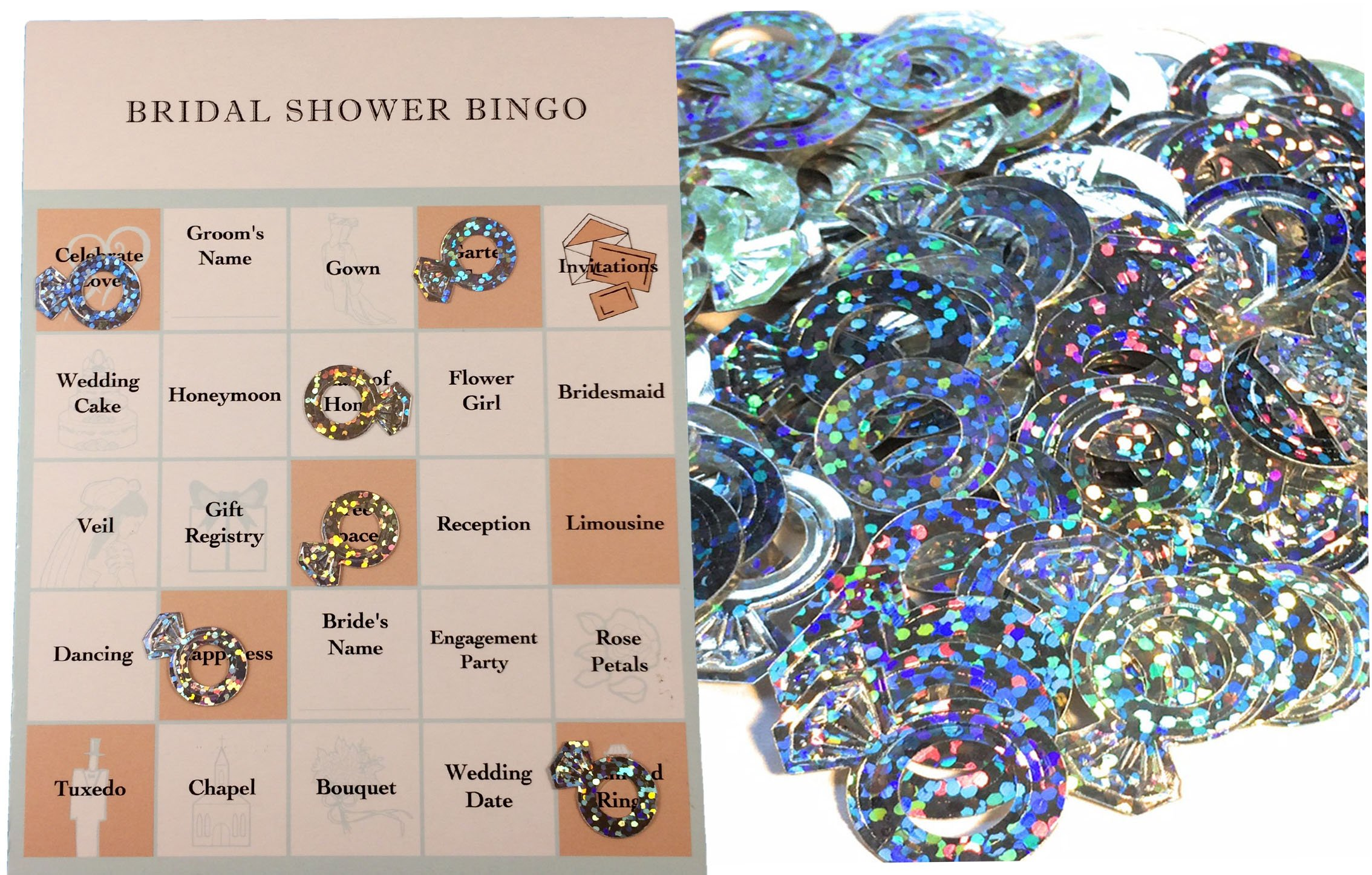 Bridal Shower Party Game Set - Bingo - Engagement Diamond Ring Shaped Bingo Chips that Doubles as Wedding Table Confetti - Bingo Cards for 24 Guests by Fun Fashion Frills